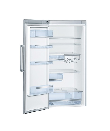 Refrigerator with open doors isolated photo