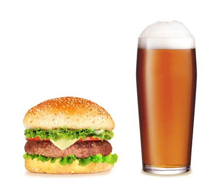 Hamburger with beer over white background photo