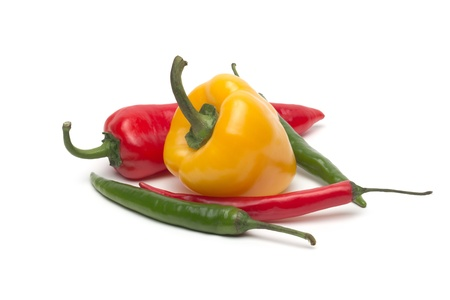 Chili and bulgarina pepper isolated on white background Stock Photo - 18921994