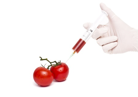 toxin: Gmo product concept: Tomato injection