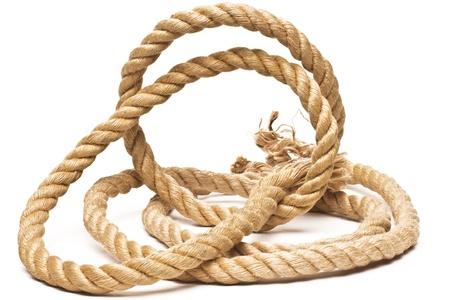 Barco cuerda y el nudo aislado en el fondo blanco Foto de archivo - 18922317