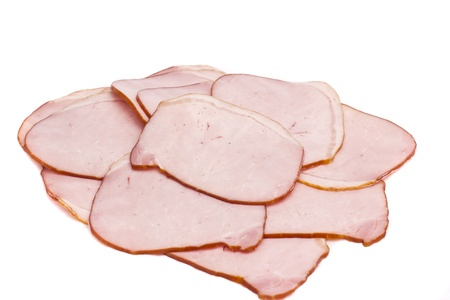 fresh folded ham on the white background Stock Photo - 18922153