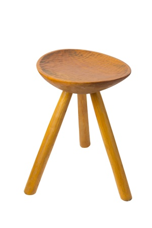round top maka wood stool isolated on white background photo