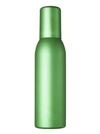 perfume atomizer: Render of a metallic spray bottle over white