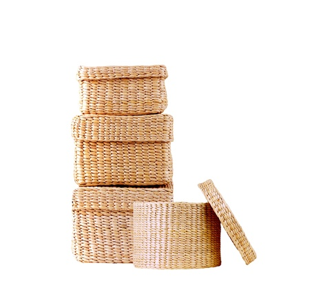 spliced: isolated round woven straw basket