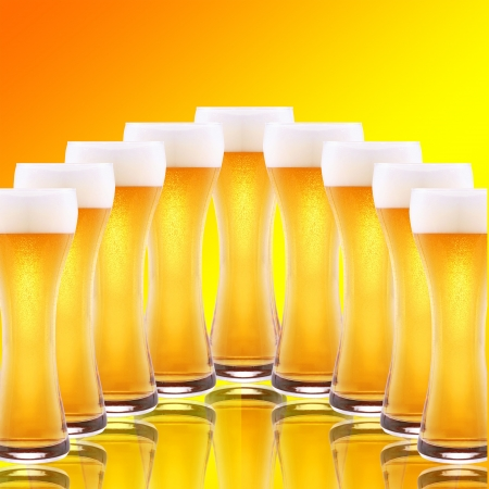A row of beer pints photo