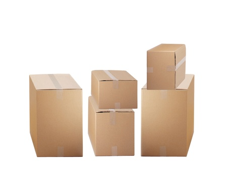 cardboard boxes isolated on white background Stock Photo - 21967463