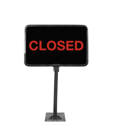 shop sign closed on white background photo