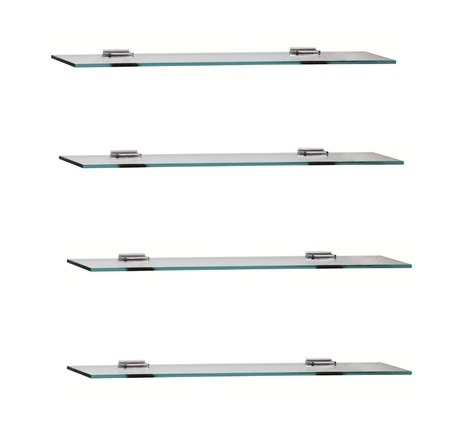 glass shelfs on white background photo
