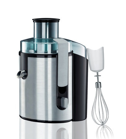 liquidiser: an electric blender with mixer on a white
