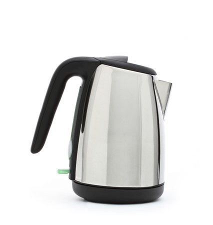 Stainless steel electric kettle isolated on white photo