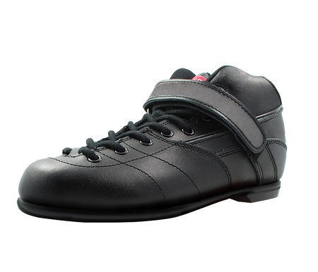 accouterment: black lace-up shoe made of leather Stock Photo
