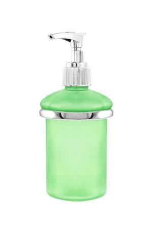 sanitizer: Bottle of hand sanitizer with dispenser