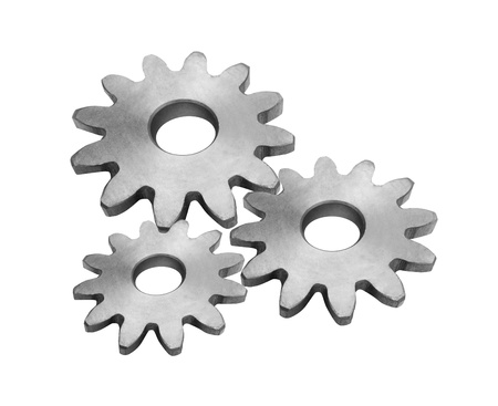 Metal gears isolated against on white photo