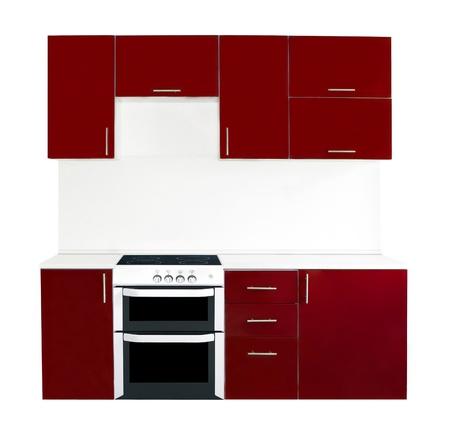 Modern red kitchen interior photo
