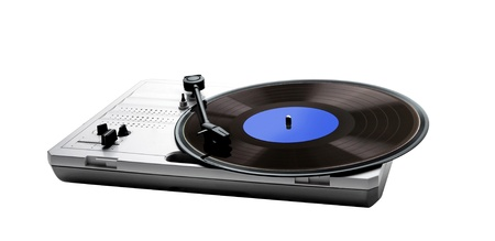 Retro portable turntable isolated and vinyl isolated on white photo