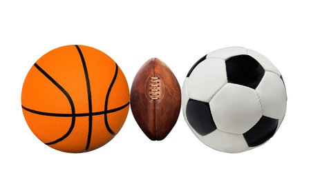 A group of sports balls on a white Stock Photo - 21992876