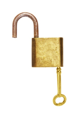 Lock and key isolated on white background photo