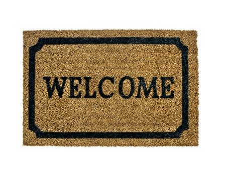 welcome door: Uno zerbino di benvenuto come nuovo isolato Archivio Fotografico