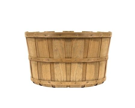 bushel: empty wooden basket isolated on white background Stock Photo