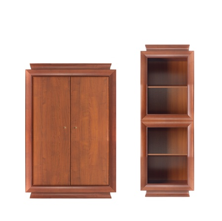 bookcase with wooden wardrobe photo