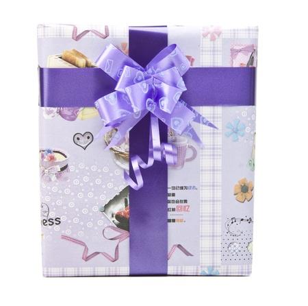 gift box with big bow ribbon photo
