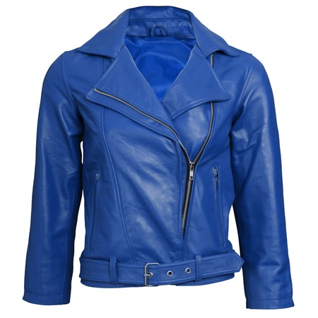 a blue leather jacket photo