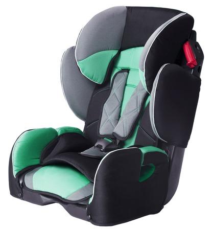 asiento coche: asiento de coche de niño aislado en un fondo blanco Foto de archivo