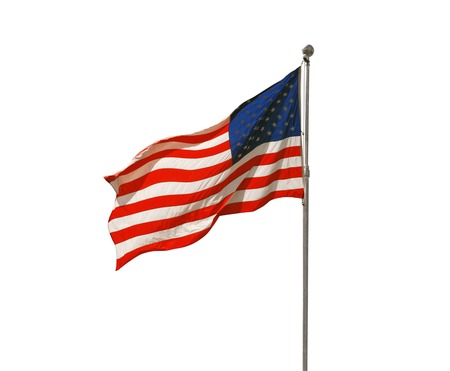 flagpoles: American flag flapping