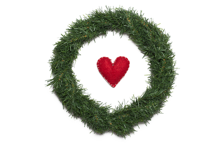 christmas wreath with red heart photo