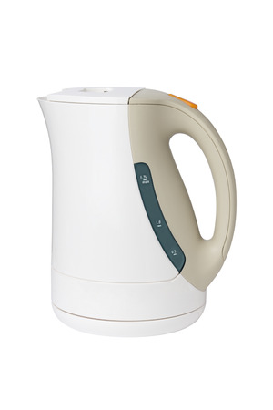 Electric white kettle on the white background photo