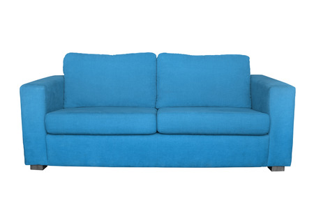red sofa: blue sofa isolated on white background