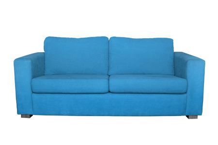 leather sofa: blue sofa isolated on white background