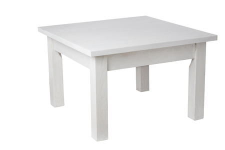Elegant white table, with clipping path Banco de Imagens