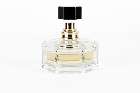 bottle of perfume isolated on white background photo