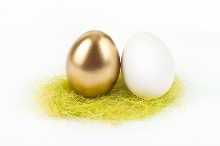 gold egg with white egg photo