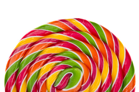 Lollipop candy on white background, rainbow colours photo