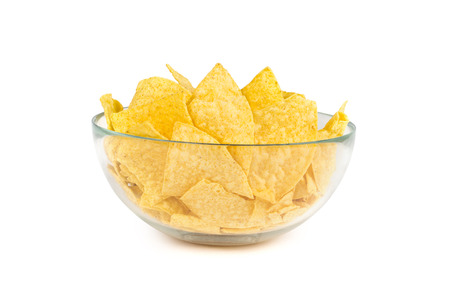 the nachos chips in bowl on white background photo