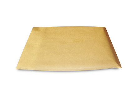 Parcel envelope  isolated on white photo