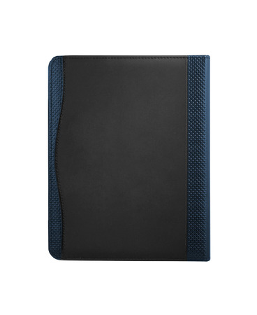 Black leather tablet computer bag on a white background photo