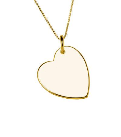 Ciondolo d'oro cuore isolato su sfondo bianco Archivio Fotografico - 27166682