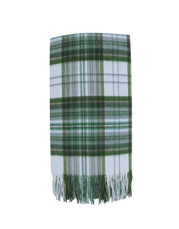 white trim: Colorful Wool green Plaid Scarf with trim isolated on white Stock Photo