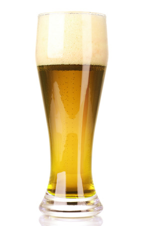Frosty glass of light beer isolated on a white background photo