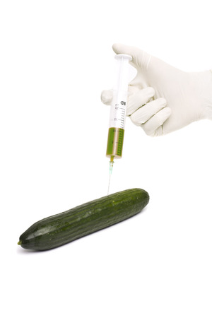 Bio genetics research of food , modified cucumber with syringe photo
