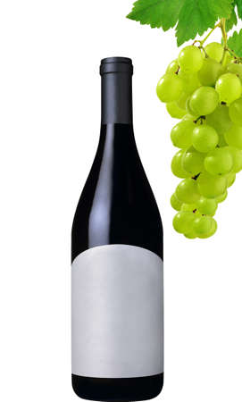 wine bottle and grapes isolated on white background photo