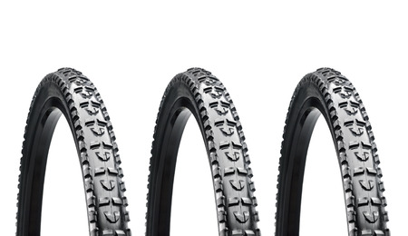 Bicycle wheels isolated on white background photo