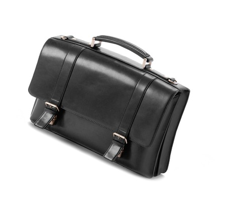 business briefcase: Black business briefcase isolated Stock Photo