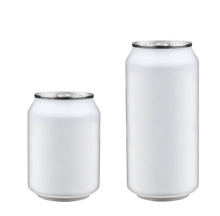isolated two aluminum soda cans photo