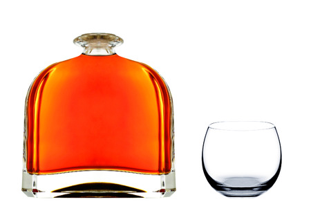 cognac: cognac in bottle with glass Stock Photo