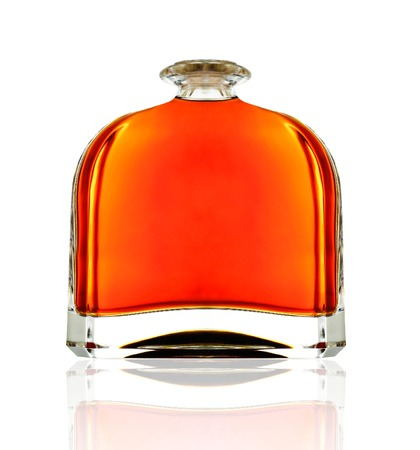 closed corks: Cognac in bottle without labels